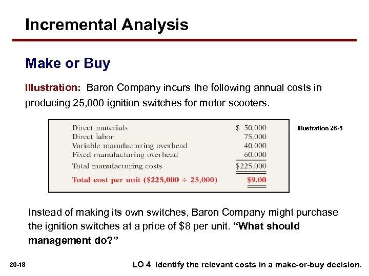 Incremental Analysis Make or Buy Illustration: Baron Company incurs the following annual costs in