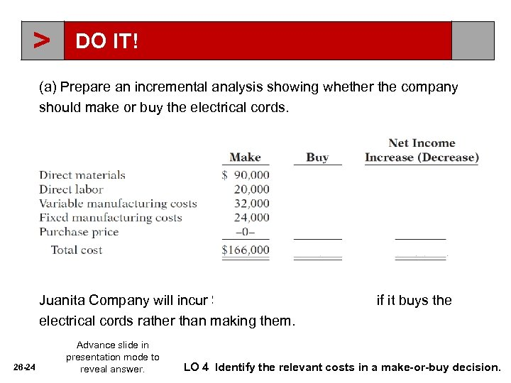 > DO IT! (a) Prepare an incremental analysis showing whether the company should make