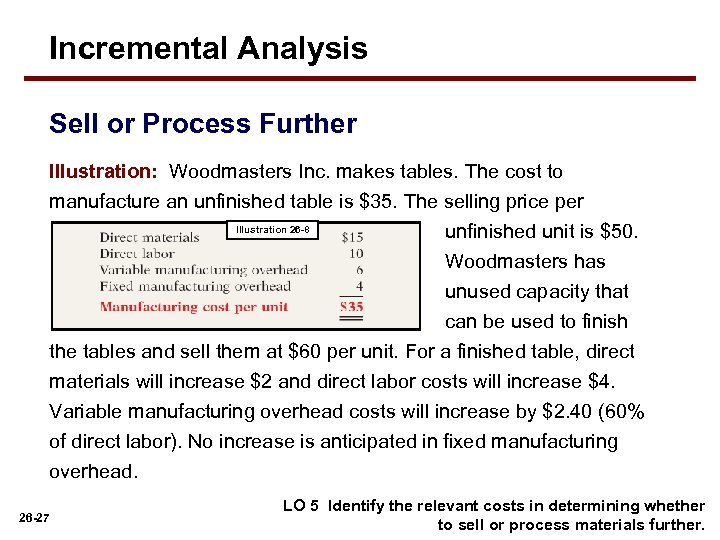 Incremental Analysis Sell or Process Further Illustration: Woodmasters Inc. makes tables. The cost to
