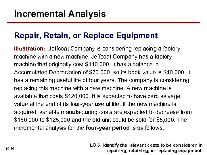 Incremental Analysis Repair, Retain, or Replace Equipment Illustration: Jeffcoat Company is considering replacing a