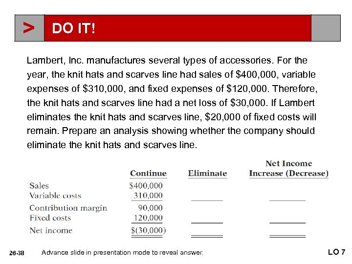 > DO IT! Lambert, Inc. manufactures several types of accessories. For the year, the