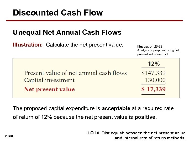 Discounted Cash Flow Unequal Net Annual Cash Flows Illustration: Calculate the net present value.