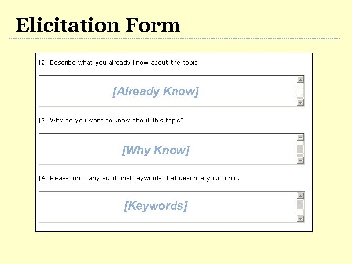 Elicitation Form [Already Know] [Why Know] [Keywords]