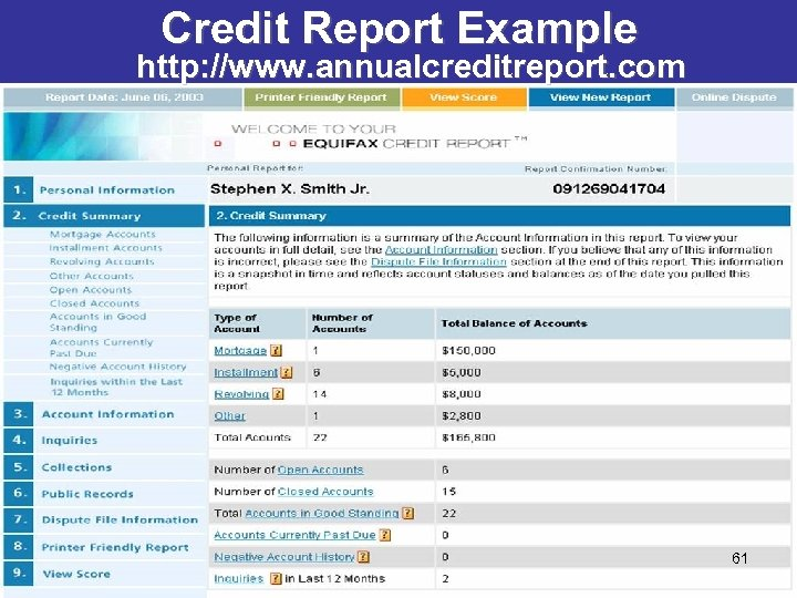 Credit Report Example http: //www. annualcreditreport. com 61