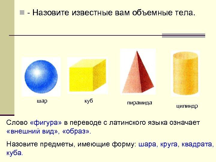 n - Назовите известные вам объемные тела. шар куб пирамида цилиндр Слово «фигура» в