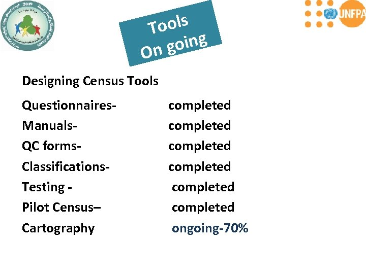 ools T oing On g Designing Census Tools Questionnaires- Manuals- QC forms. Classifications- Testing