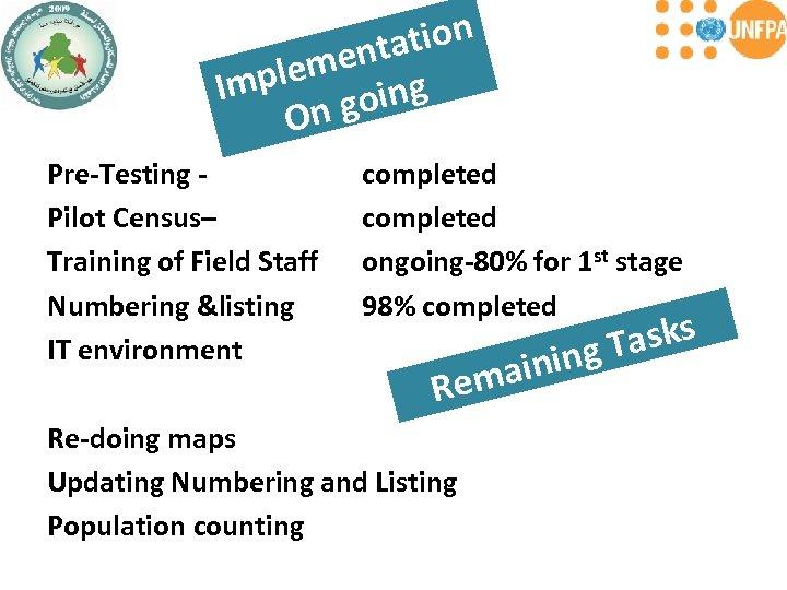 tion enta plem ing Im n go O Pre-Testing - Pilot Census– Training of
