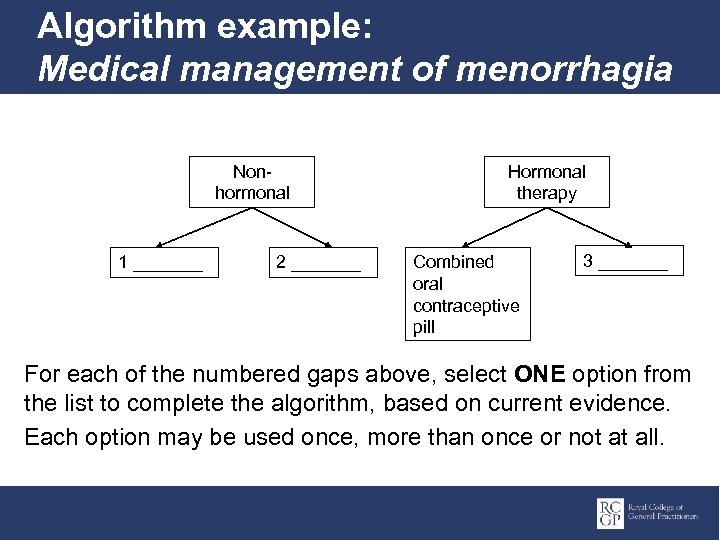 Algorithm example: Medical management of menorrhagia Nonhormonal 1 _______ 2 _______ Hormonal therapy Combined