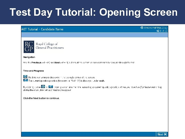 Test Day Tutorial: Opening Screen Promoting Excellence in Family Medicine