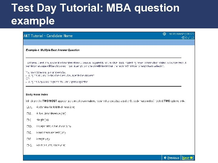 Test Day Tutorial: MBA question example Promoting Excellence in Family Medicine