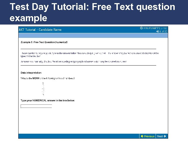 Test Day Tutorial: Free Text question example Promoting Excellence in Family Medicine