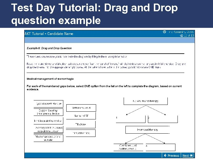 Test Day Tutorial: Drag and Drop question example Promoting Excellence in Family Medicine