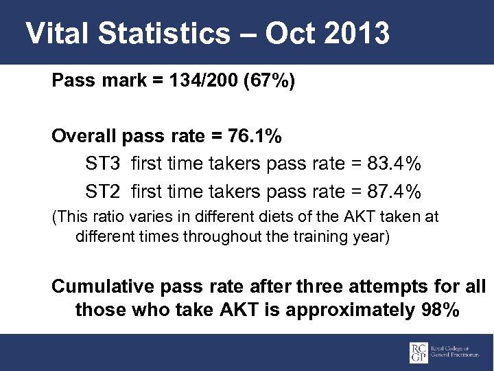 Vital Statistics – Oct 2013 Pass mark = 134/200 (67%) Overall pass rate =
