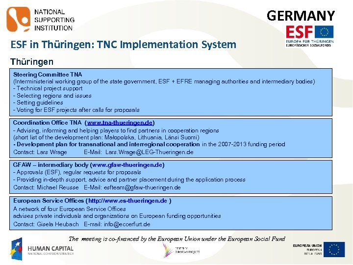 GERMANY ESF in Thüringen: TNC Implementation System Thüringen Steering Committee TNA (Interministerial working group
