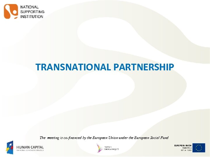 TRANSNATIONAL PARTNERSHIP The meeting is co-financed by the European Union under the European Social