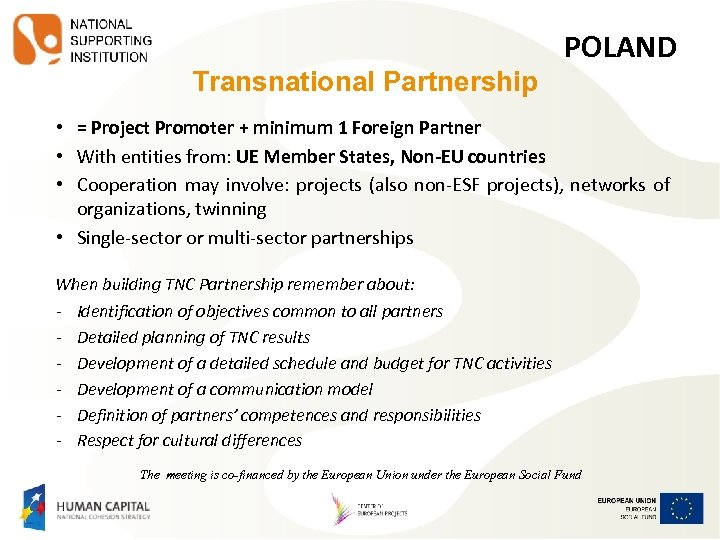 Transnational Partnership POLAND • = Project Promoter + minimum 1 Foreign Partner • With
