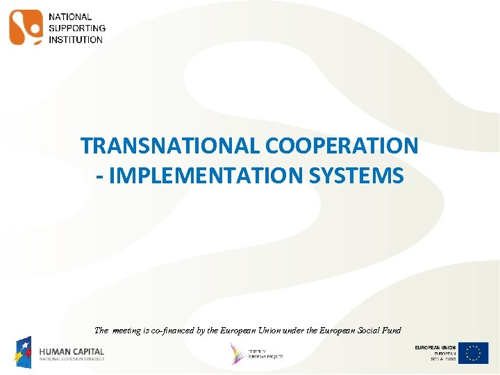 TRANSNATIONAL COOPERATION - IMPLEMENTATION SYSTEMS The meeting is co-financed by the European Union under