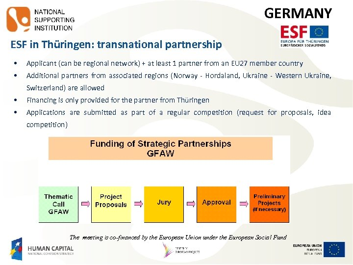 GERMANY ESF in Thüringen: transnational partnership • Applicant (can be regional network) + at