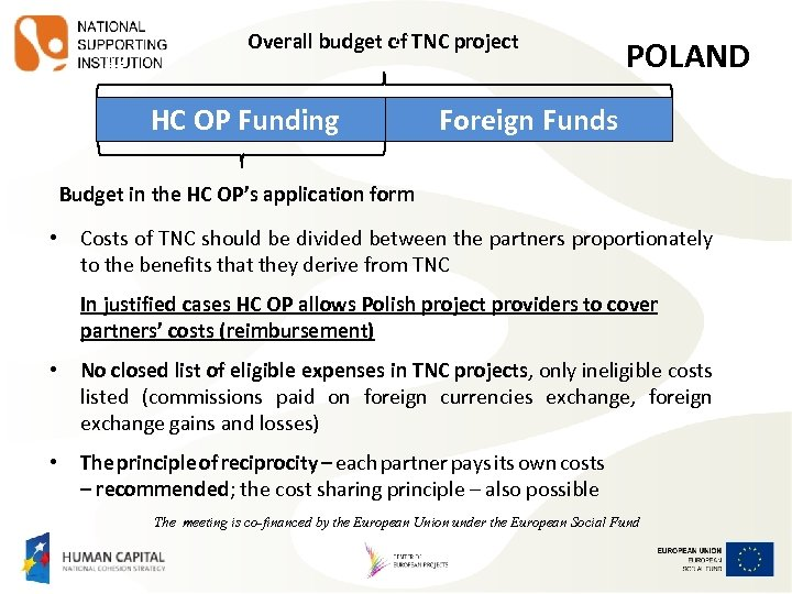 OV J Overall budget of TNC project HC OP Funding POLAND Foreign Funds Budget