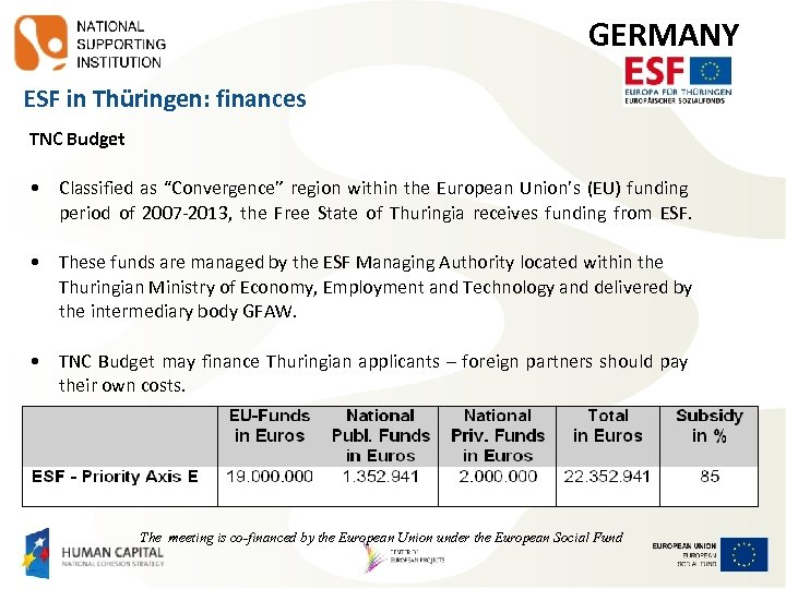"GERMANY ESF in Thüringen: finances TNC Budget • Classified as ""Convergence"" region within the"