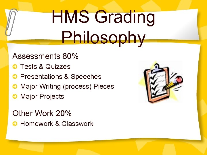 HMS Grading Philosophy Assessments 80% Tests & Quizzes Presentations & Speeches Major Writing (process)