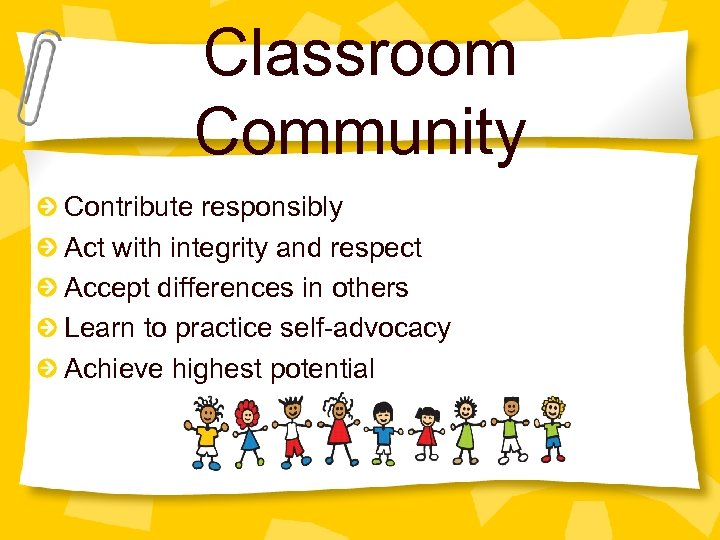 Classroom Community Contribute responsibly Act with integrity and respect Accept differences in others Learn