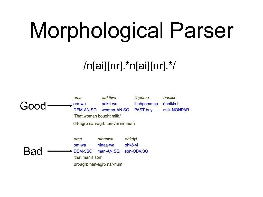 Morphological Parser /n[ai][nr]. */ Good Bad