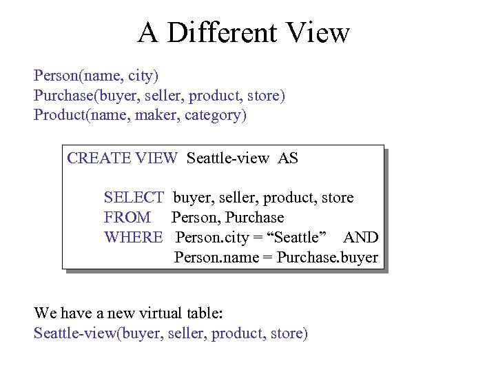 A Different View Person(name, city) Purchase(buyer, seller, product, store) Product(name, maker, category) CREATE VIEW