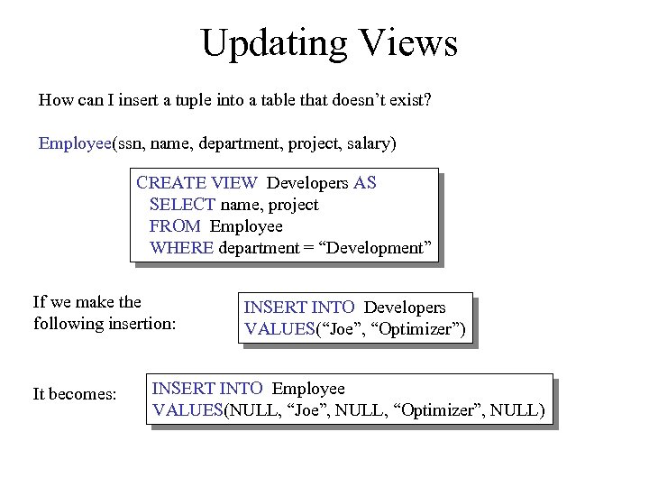 Updating Views How can I insert a tuple into a table that doesn't exist?