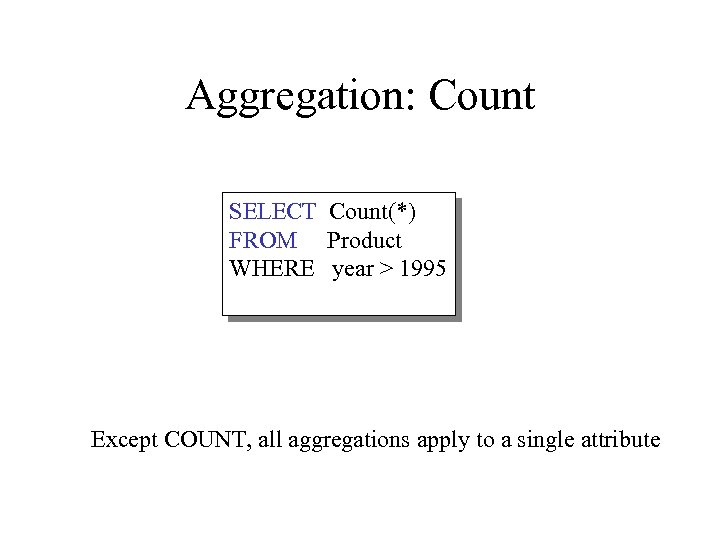Aggregation: Count SELECT Count(*) FROM Product WHERE year > 1995 Except COUNT, all aggregations