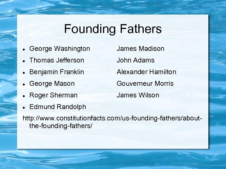 Founding Fathers George Washington James Madison Thomas Jefferson John Adams Benjamin Franklin Alexander Hamilton