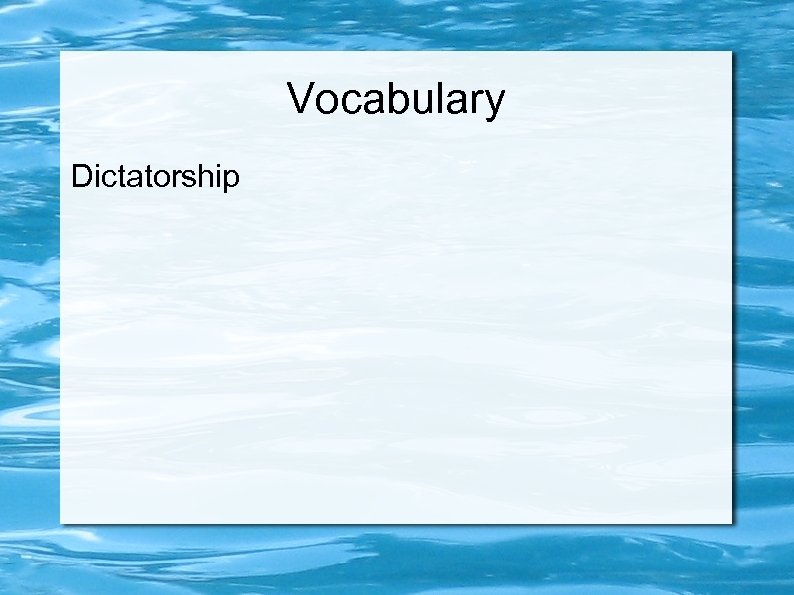 Vocabulary Dictatorship
