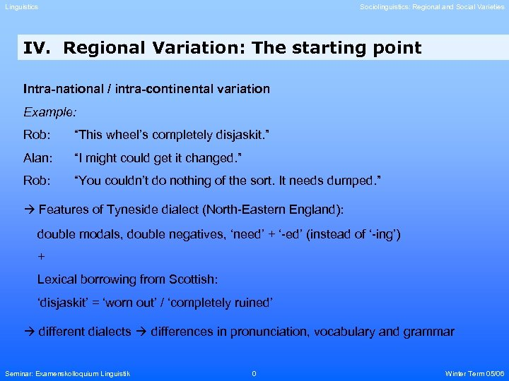 Linguistics Sociolinguistics: Regional and Social Varieties IV. Regional Variation: The starting point Intra-national /