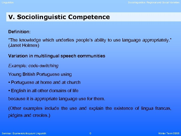 "Linguistics Sociolinguistics: Regional and Social Varieties V. Sociolinguistic Competence Definition: ""The knowledge which underlies"