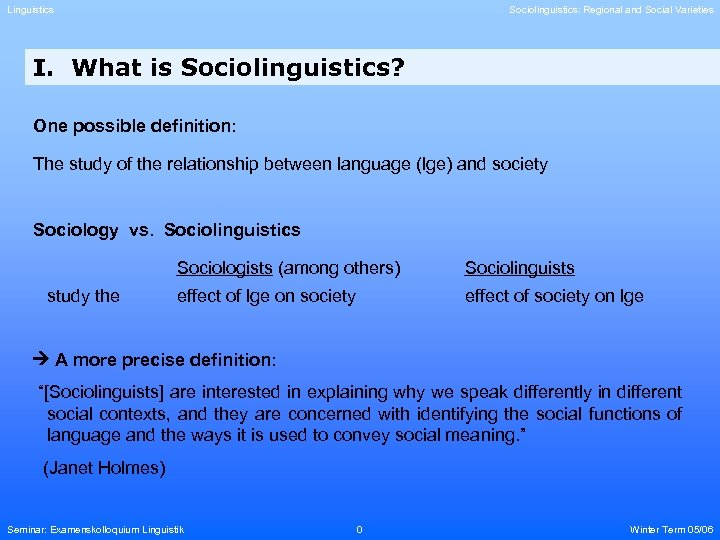 Linguistics Sociolinguistics: Regional and Social Varieties I. What is Sociolinguistics? One possible definition: The