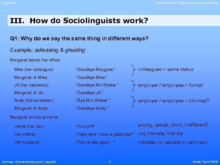 Linguistics Sociolinguistics: Regional and Social Varieties III. How do Sociolinguists work? Q 1: Why