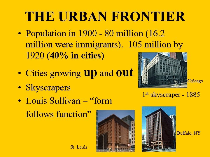 THE URBAN FRONTIER • Population in 1900 - 80 million (16. 2 million were