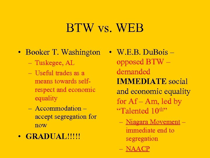 BTW vs. WEB • Booker T. Washington • W. E. B. Du. Bois –