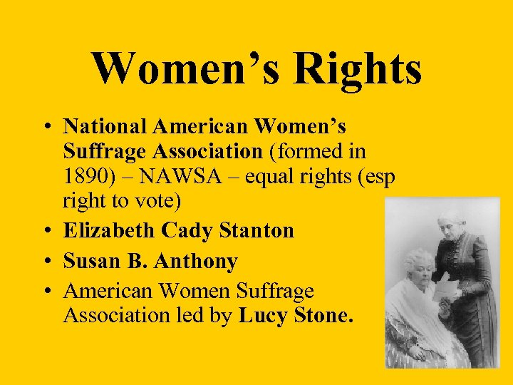Women's Rights • National American Women's Suffrage Association (formed in 1890) – NAWSA –