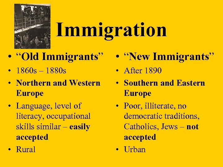 "Immigration • ""Old Immigrants"" • ""New Immigrants"" • 1860 s – 1880 s •"