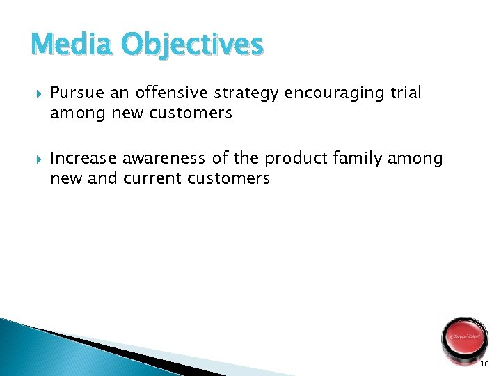 Media Objectives Pursue an offensive strategy encouraging trial among new customers Increase awareness of