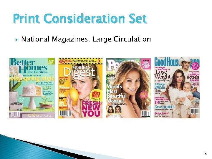 Print Consideration Set National Magazines: Large Circulation 15
