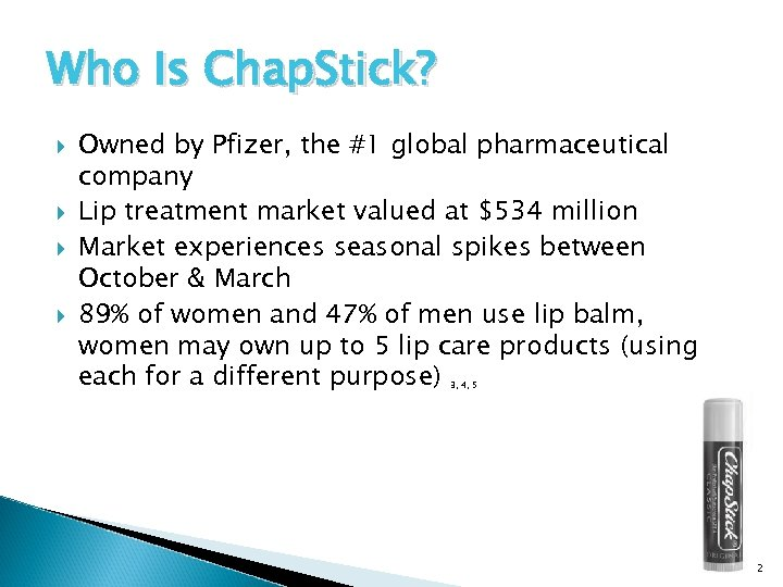 Who Is Chap. Stick? Owned by Pfizer, the #1 global pharmaceutical company Lip treatment