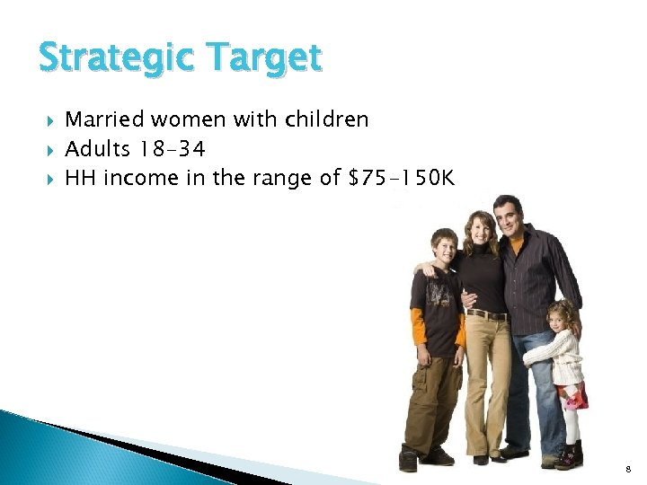 Strategic Target Married women with children Adults 18 -34 HH income in the range