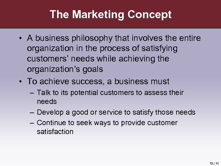 The Marketing Concept • A business philosophy that involves the entire organization in the