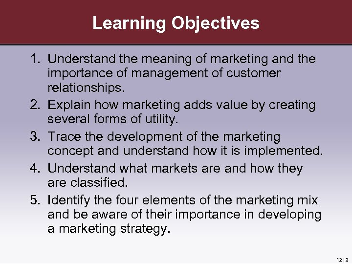 Learning Objectives 1. Understand the meaning of marketing and the importance of management of