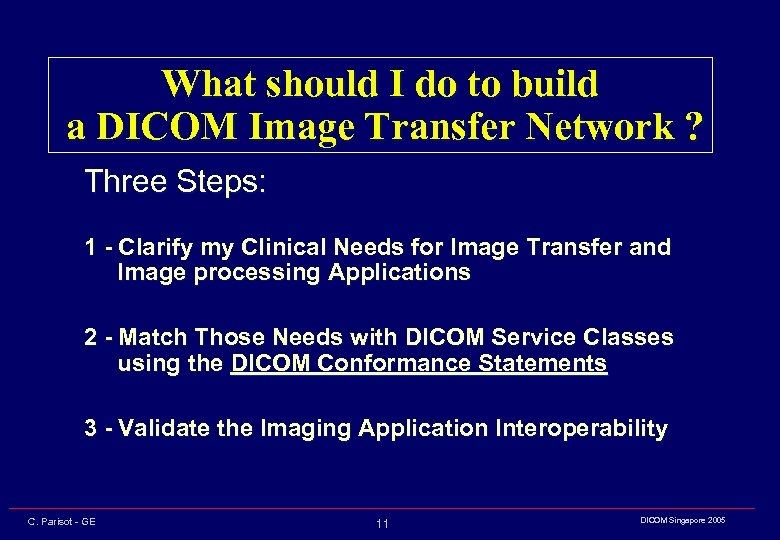 What should I do to build a DICOM Image Transfer Network ? Three Steps: