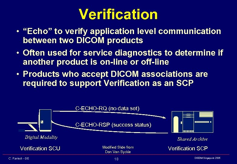 "Verification • ""Echo"" to verify application level communication between two DICOM products • Often"