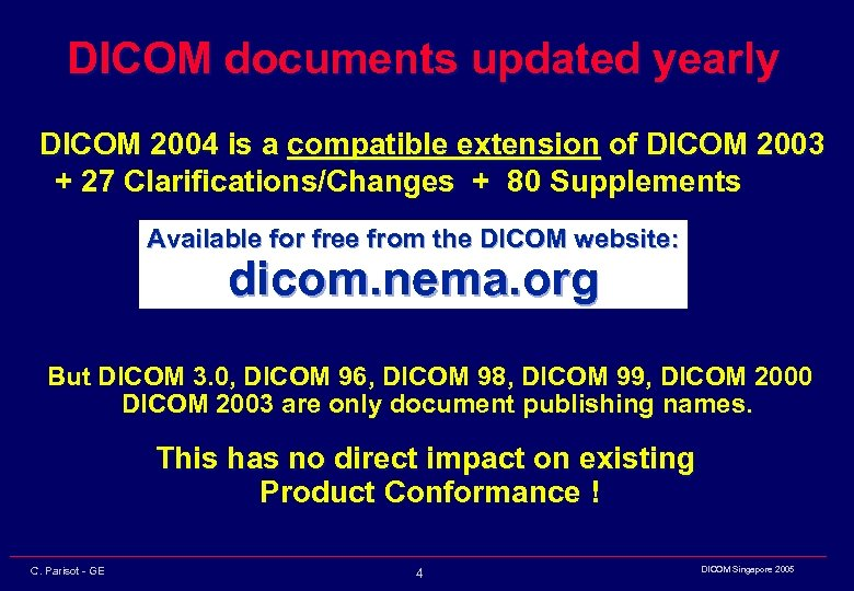 DICOM documents updated yearly DICOM 2004 is a compatible extension of DICOM 2003 +