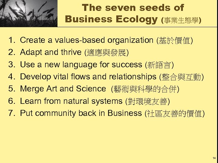 The seven seeds of Business Ecology (事業生態學) 1. 2. 3. 4. 5. 6. 7.